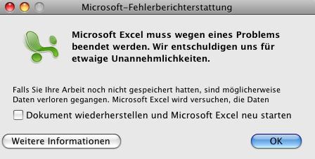 Excel Fehlermeldung