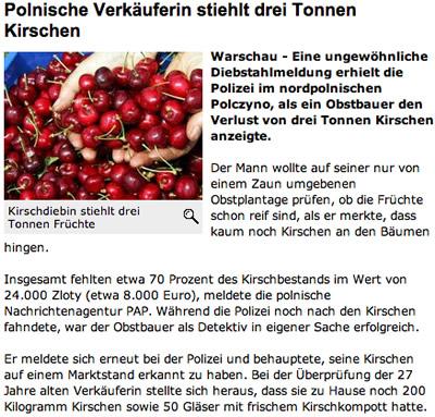 Polnische Kirsch, tonnenweise geklaut