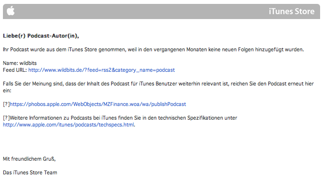 Endes des Podcasts