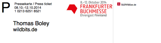 Buchmesse Frankfurt 2014  – ich bin dabei