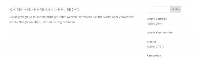 Default 404-Seite in Divi
