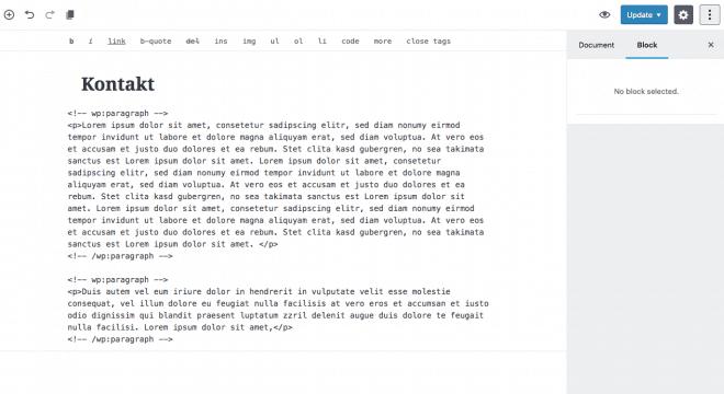 HTML-Ansicht mit Kommentar-Tags