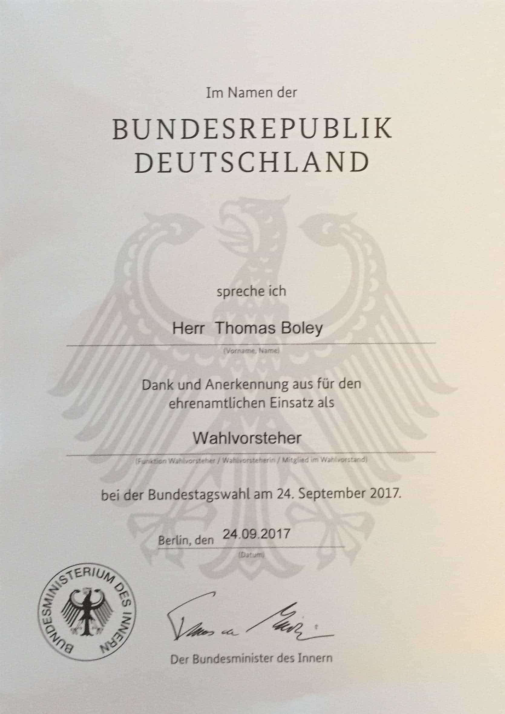 Urkunde für den Wahlvorsteher