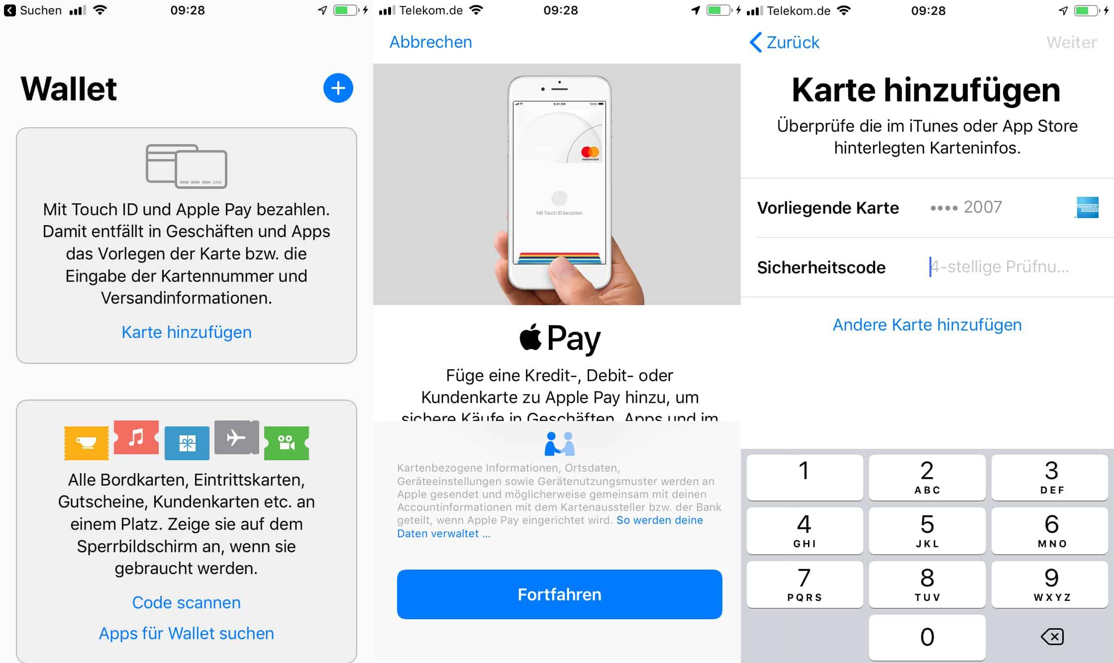 Einrichtung von Apple Pay