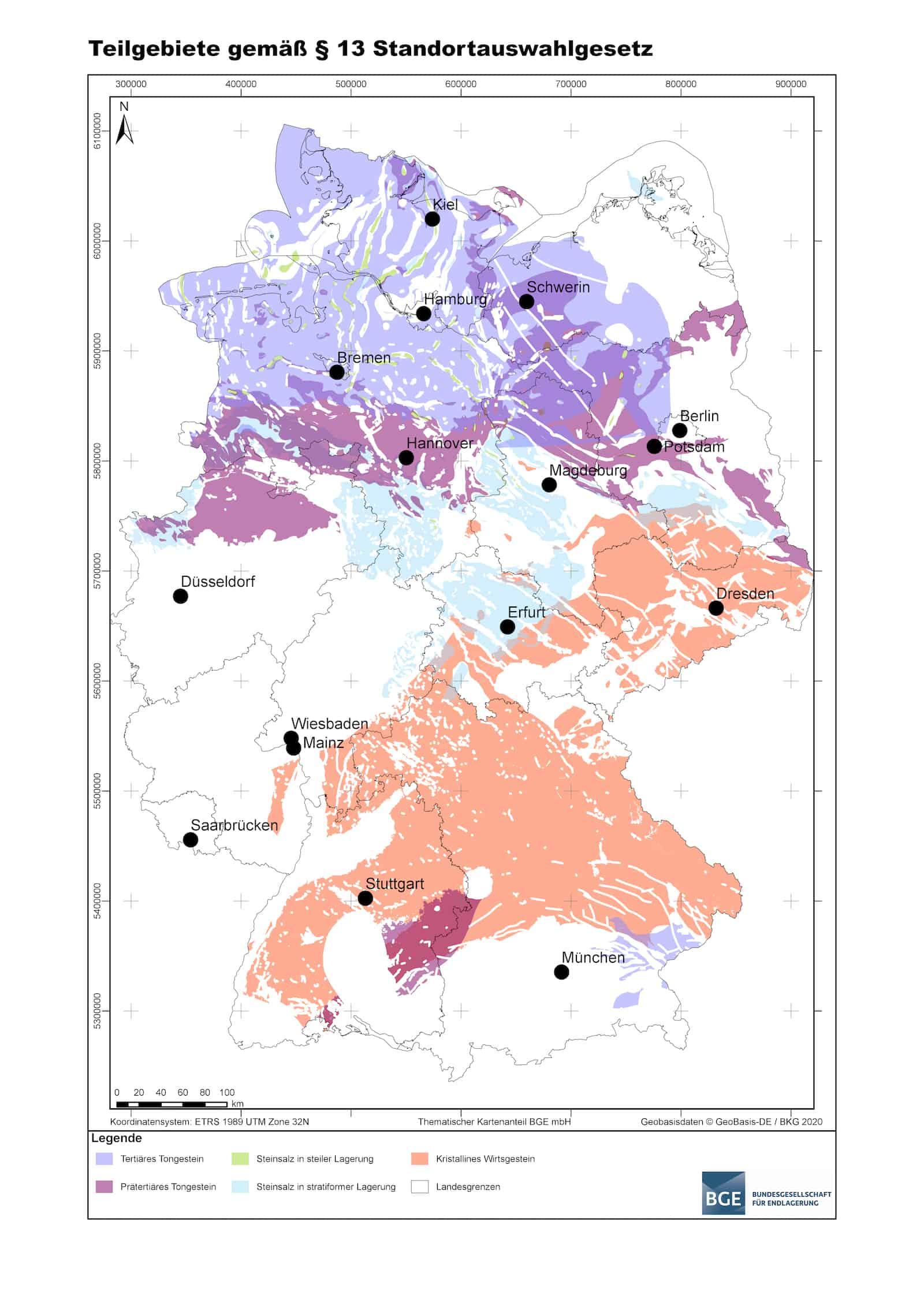 Karte für potentielle Endlager