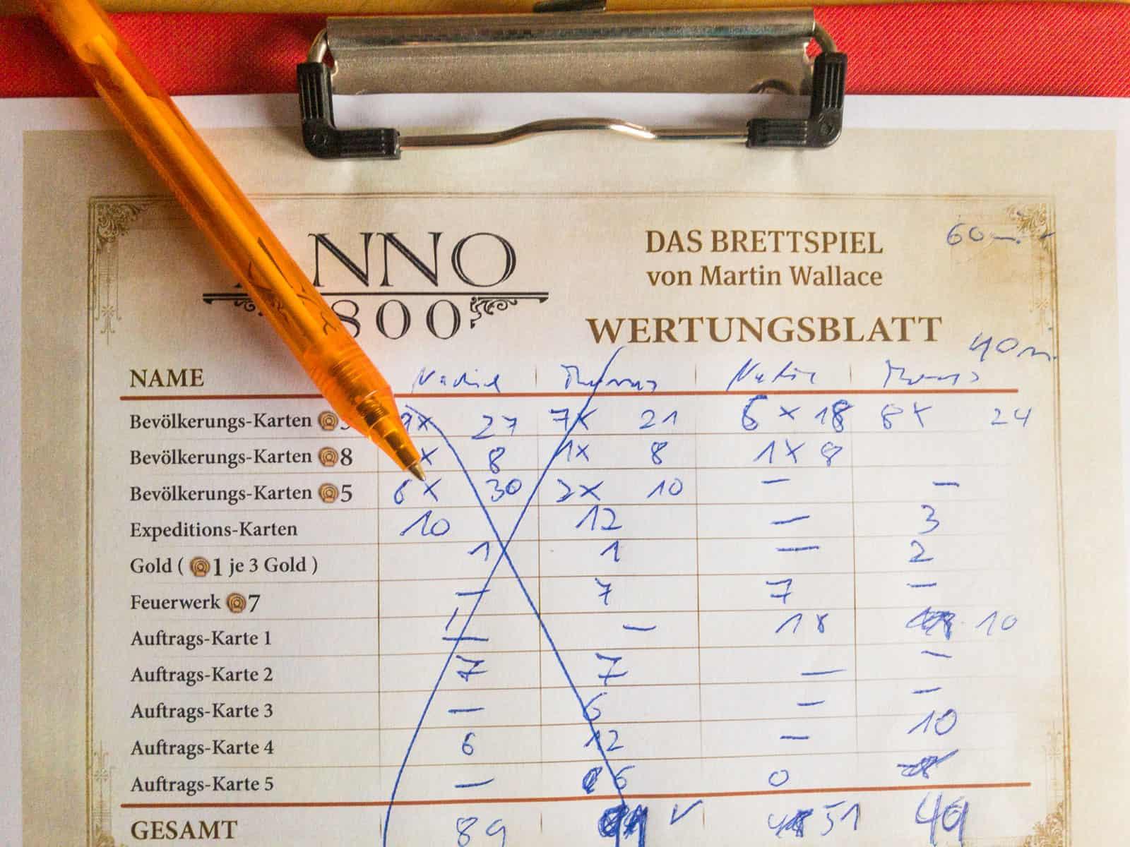 Anno 1800 Wertungsblatt (nicht im Spiel enthalten)